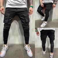 Uomini New Black Biker Biker Cargo Jeans Multi Pocket Slim Fit Joggers Pantaloni maschili Strappato Foro Moto Streetwear Denim Pantaloni a matita