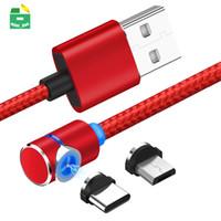 마그네틱 USB 케이블 마이크로 타입 C 충전 케이블 90도 나일론 브레이드 라인 Samsung Huawei Xiaomi LG 스마트 폰용 LED 조명