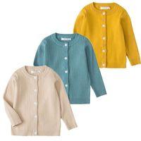 بنين بنات محبوك سترة الخريف الربيع القطن سترة الأعلى طفل ملابس الأطفال البلوزات الأطفال 1-7 سنوات الصلبة اللون 1