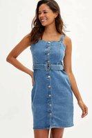 Defacto Femme Fashion Jeans Short Robe Dames Casual Sling Bouton Slim Robes De Denim Summer Lj200828
