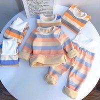 Новый JCHAO Kids Brand Brand Одежда для одежды Теплый флис Pajamas Baby Boys Boys Girls Утолщенные полосы Детские Питание Бархатное Тепловое белье 201104