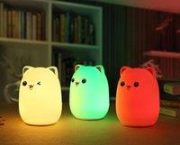 실리콘 소프트 USB 충전식 동물 야간 조명 고양이 테이블 램프 성인 어린이 아기 LED 조명 보육 야간 램프 해상 HHE4193