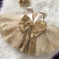 Dorado lentejuelas breankening vestidos de bautizo tulle princesa vestido evento fiesta de fiesta 1 año bebé niña vestidos de cumpleaños infantil bautismo vestido lj201221