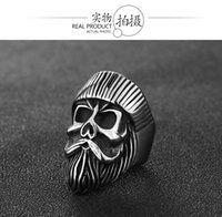 Gothic Vintage 316L Stainless Steel Cool locomotive old man skull men's ring punk rock bearded high quality jewelrysize:8-13#