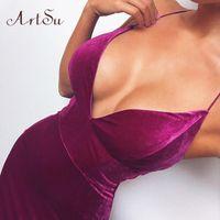 Artsu 벨벳 스파게티 스트랩 섹시한 드레스 Backless Bodycon 높은 허리 보라색 푸른 여름 파티 클럽 미디 드레스 여성 ASDR70161 Y0118