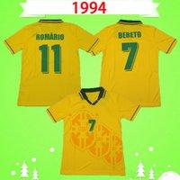Brazil 1994 Jerseys de football rétro Accueil Vintage jaune 94 Classic Football Shirts Maillot Brasil Camisetas de futbol # 7 Bebeto # 11 Romario