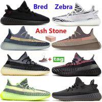 Yeni Zebra Bred Kül İnci Taş Mavi Kanye Batı Koşu Ayakkabıları V2 Solma Doğal Küliş Yansıtıcı Siyah Kırmızı Beyaz Statik Basketbol Sneakers
