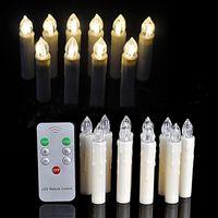 10pcs Warm White Battery Battery LED Candela Light Wireless Telecomando Aree Tree Birthday Natale Decorazione di nozze 394 N2