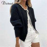 Dicloud Zarif Armut Düğmeleri Siyah Hırka Kadınlar Sonbahar Kış Boy Uzun Kollu Moda Bayanlar Örme Ceket Y201006