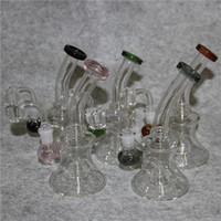 Buchette de verre Banghalh Tuyaux d'eau Bécher Recycleur 7,4 pouces Bongs DAB Plate-tête Huile Burn-Cendrier Bubbler 14mm Bol