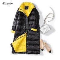 Fitaylor novas mulheres 90% ultra luz branca pato para baixo jaqueta inverno longo casaco feminino solto vento à prova de vento para baixo 201104