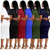 Ladies Solid Color Splicing Dress Fashion Trend Sexy Short S...