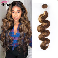 Isow Hair Weaves Bundles Weft Highlight 4/27 Ombre Body Malaysian Capelli Umani Bundles Brasiliani Estensioni dei capelli umani virgnosi peruviani indiani brasiliani