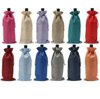 DHL Schiff Wein Flasche Deckt Weinflasche Taschen Kordelzug Verpackung Geschenk Taschen Rustikale Hessische Weihnachtszeit Abendessen Tischdekorationen