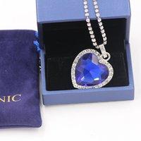 Commercio all'ingrosso cuore titanico dell'oceano cuore blu amore per sempre collana pendente + sacchetto di velluto Y1220