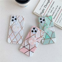 Fashion Geometric Marble Patterns Bracket Case Cover for iPhone 12 Pro Max 11 XS Max XR 8 7 Plus