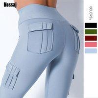 NESSAJ High Taille Fitness Bolsillo Efense Color Push Up Legging Mujer Ropa Poliéster Leggings