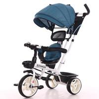 Poussettes n ° 2 en 1 Troycle bébé pliant pliant de siège rotatif bébé poussette 3 roues vélo enfants vélos trois chariot 6m-6y
