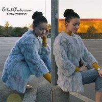 Ethel Anderson Doğal O-Boyun Ince Uzun Gerçek Ceket Hakiki Tam Pelt Ceket Kadın Tavşan Kürk Dış Giyim 201208
