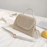 Women Bag Beach Straw Bucket Burlap Square Messenger taschen...