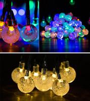 Solaire à LED à LED String lumières 30 ampoules à la boule de cristal imperméable à la boule de Noël Camping Éclairage extérieur Jardin Holiday Party 8 modes 6.5m
