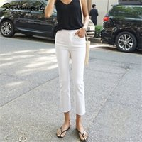 Streamgirl beyaz kot kadınlar için sıska sonbahar denim pantolon capris düz siyah sıska kot kadın yüksek bel ayak bileği denim pantolon 201223