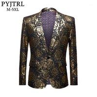 Pyjtrl Marka Artı Boyutu Ceket Erkek Casual Blazers Homme Tasarımları Slim Fit Moda Altın Gül Desen Takım Elbise Ceket DJ Şarkıcılar Kostüm1
