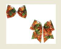 Verkaufen Sie ST Patrick's Day Hair Bows 7 Zoll Cheer Bögen mit Gummiband 4.5inch Bowknot Haarnadel Für Mädchen Kinder Pferdeschwanzhalter 12 satz / 24 stücke