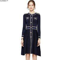 Sonbahar kadın Uzun Kollu Kazak Elbise Marka Tasarım Ofis Bayan Parlak İpek Dekorasyon Retro Örgü Elbise Uzun Stil Elbise 200928