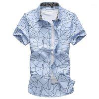 غادر ROM 2020 الرجال الخريف عالية الجودة القطن الخالص التلبيب الطباعة قمصان الأعمال / الذكور يتأهل هاواي الأزياء الترفيه قميص