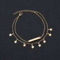 Nouveau Femme Bracelets de cheville Pieds nus Sandales Pied Bijoux Bar Leg Bracelets de cheville Star Pendant la plage cheville Bracelets pour les femmes jambe Bijoux chaîne