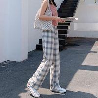 Streetwear Plaid Giallo Pantaloni da donna Joggers 2020 Femmina Casual Straight Harem Pants Coreano Hip Hop Japan Track Plus Size1