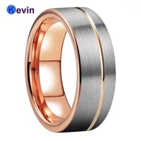 Rose Gold Band Band Band Tungsten Ring para hombres Mujeres Offset Groove y Cepillo Acabado 6mm 8mm Comfort Fit1
