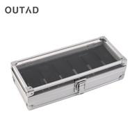 OUTAD Moda 6 Grade Slots Relógios de exibição de armazenamento caixa quadrada caixa de alumínio Relógios caixas de jóias Decoração Caso melhor presente