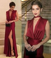 Cheap Sexy Dark Red Prom Dresses Deep V Neck High Side Split Floor Length Evening Dress Party Gowns ogstuff vestidos de fiesta Abendkleider
