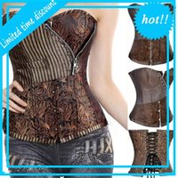 Miss Moly Brown Sexy Espartilhos e Bustiers Steampunk Corset Top Taille Tummyr Vestuário Gótico Corselet Brocade Zip Patchwork S-2XL
