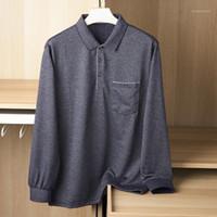 Homens Polos Slim Fit Lapela Camisas Negócio Manga Longa Casual Collared Chemisiers Homme Mens Roupas DH50Pl1