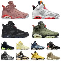 Nike air jordan retro 6 jordans 6s off white Jumpman  Chaussures basketball Singles Journée VI Millennial Rose Floral Cactus Jack Hare Fumée Grey Hommes Sports Sneakers Formateurs