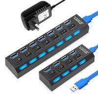 USB 3.0 Hub USB Hub 3.0 Çoklu USB Splitter 3 Hab Kullanımı Güç Adaptörü 4/7 Portlu Çoklu Genişletici 2.0 USB3 Hub PC için Anahtarı