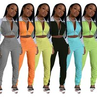 Plus Size Sweats Suits Donne TrackSuits Tute Allenamento Set di corrispondenza Set Casual Crop Top Pantaloni da carico 2 pezzi Set Womens Autoschi