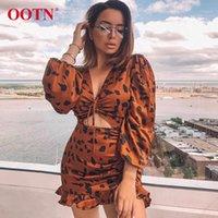 Ootn Ruffle Dreansstring Leopard Dress Leopard Donne con scollo a V a maniche a soffio Sexy Mini Dress 2019 Moda Vintage Animal Print Ladies Dresses1