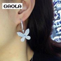 GAOLA Schöner Schmetterling Ohrringe baumeln Wasser-Tropfen-Zircon-Partei-Geschenk Rhodium überzogenes Mikro pflastern Einstellung Ohrring GLE6596