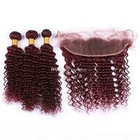 Burgundy 99J глубокая волна волос 3 пакета с кружевной лобной 13x4 9A сорт глубокое вьющиеся человеческие волосы наращивание волос с ухом до ушей фронтальной