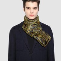 Winter Designer 160cm Long Men Gold Floral Silk Scarf Male Brand Shawl Wrap Face Scarf Grade A Adult Barry.Wang