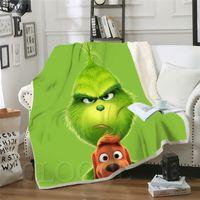 Cloocl filme Grinch roubou cobertores de natal 3D Imprimir Harajuku Ar condicionado Sofá Adolescentes de cama Jogar Cobertor Colcha de Pelúcia