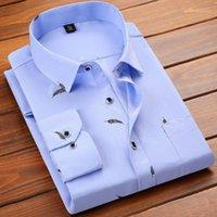 Vestido de los hombres camisas de moda para hombre casual de manga larga camisa impresa Slim Fit masculino Social Business Brand Ropa suave Cómodo1