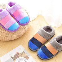 Cotton Warm Shoes Striped Soft Bottom Home Couple Slippers Women Indoor Floor Slippers Non-slips Shoes For Bedroom Woman Slipper