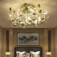 Luz de cristal posmoderna Lámpara de techo LED simple Sala de estar LED LED Lámpara de cristal Dormitorio Dormitorio Cerámica Flor de techo Luz para el hogar