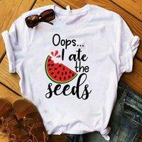 Mulheres Lady T Shirt Melancia Eu comi as sementes impressas tshirt senhoras camiseta mulheres fêmeas tops roupas gráfico t-shirt