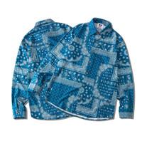 Outono inverno europa américa clássico legal patchwork bandanna paisley homens mulheres manga comprida casual polyster camisa streetwear tops